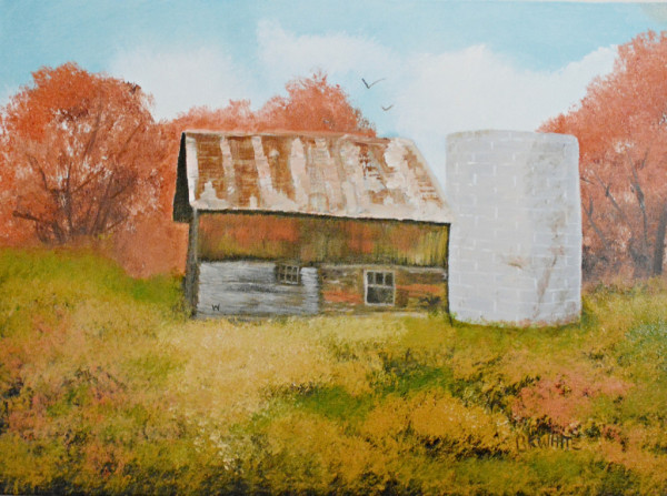 Barn, painting, gifts, scenery, fall,