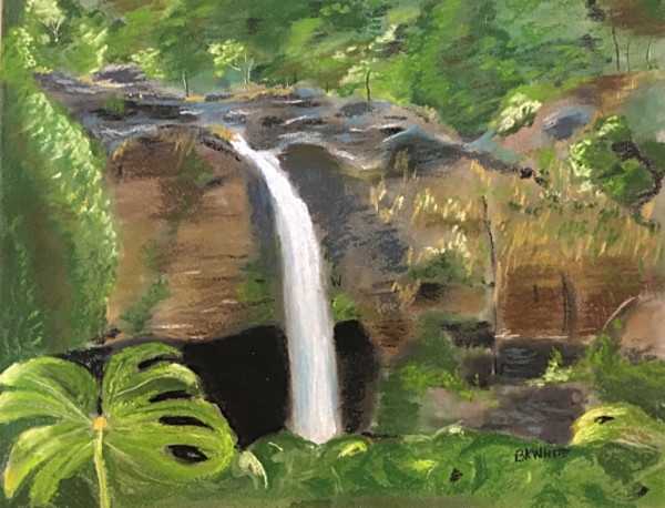 rainbow, waterfall, travel, gift, Hawaii, Hilo, vacation, painting, pastels