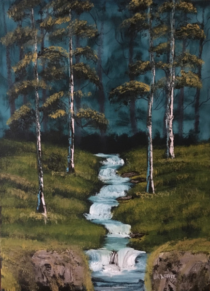 fine art, oil painting, gift, nature, travel, forest, water, trees