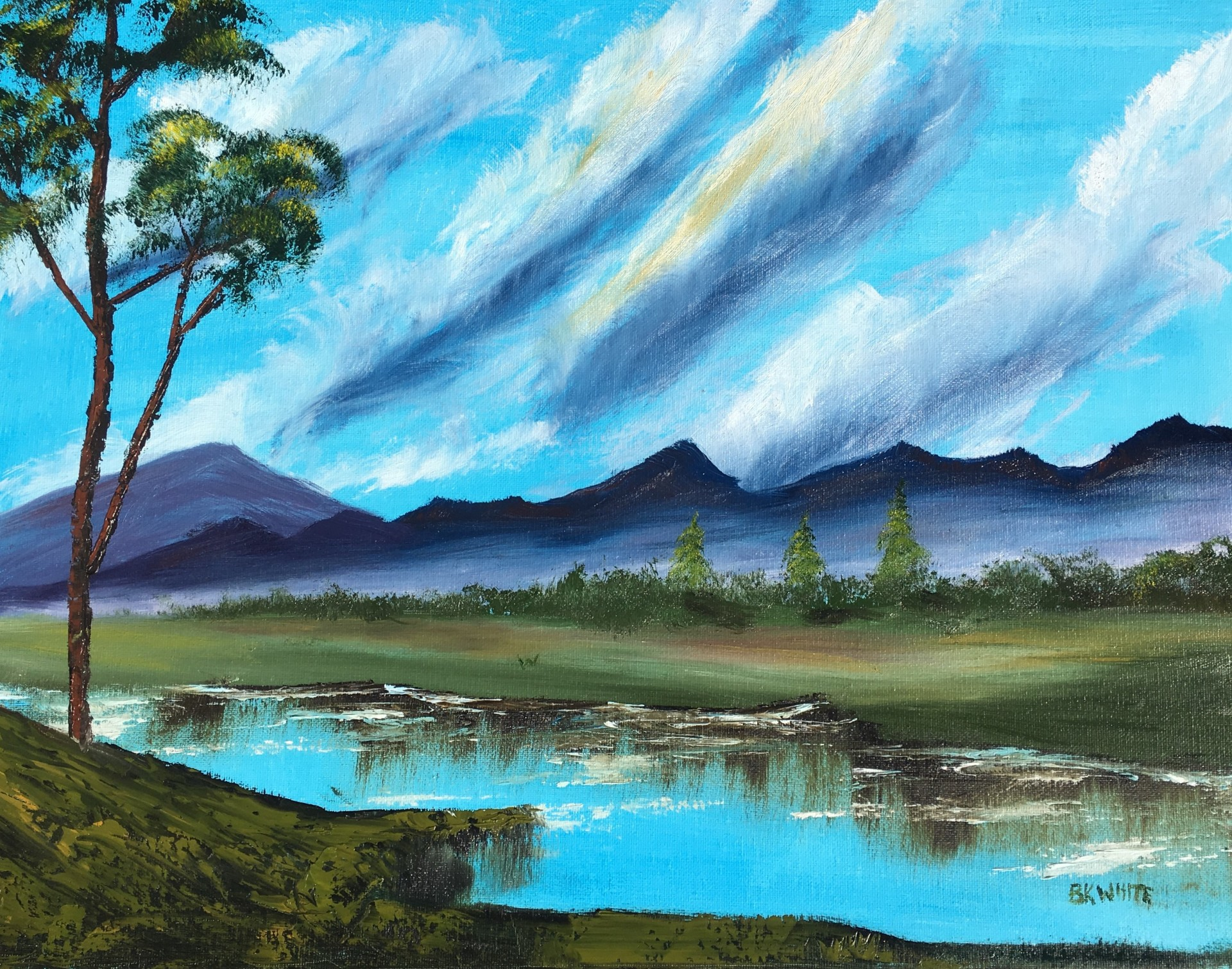mountain, painting, nature, gift, art, gift,